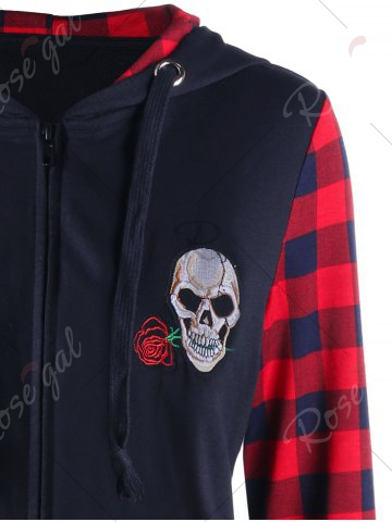 Online Plaid Insert Zip Up Skull Patched Hoodie - M BLACK AND RED Mobile