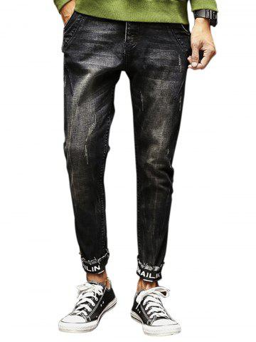 Graphic Print Elastic Beem Feet Zipper Fly Ripped Jeans - Deep Gray - 36