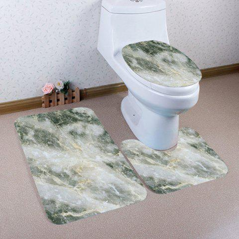 Buy Marble Grain Pattern 3 Pcs Flannel Bath Mat Toilet Mat
