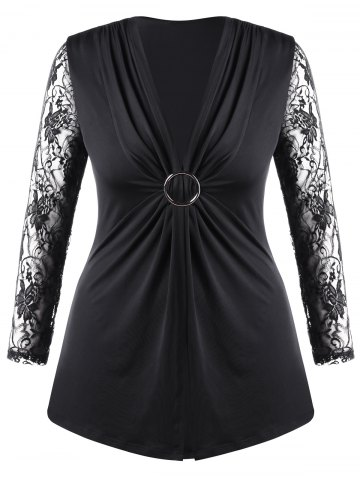 Plus Size Lace Trim Twist Front Top - Black - 5xl