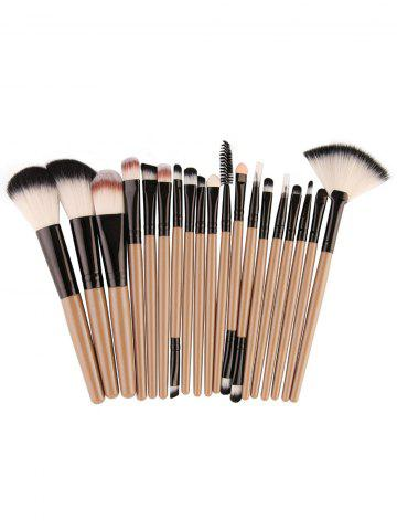 Sale 18Pcs Face Eye Makeup Brushes Kit - KHAKI+BLACK  Mobile