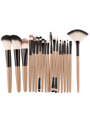 Chic 18Pcs Face Eye Makeup Brushes Kit - KHAKI+BLACK  Mobile