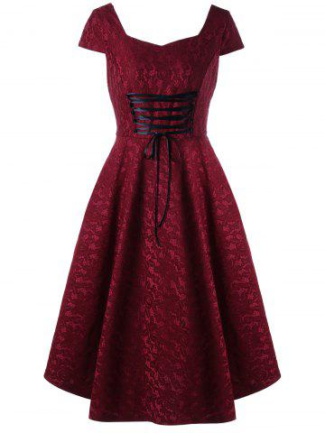 Trendy Vintage Cap Sleeve Lace Up Jacquard Dress - L DEEP RED Mobile