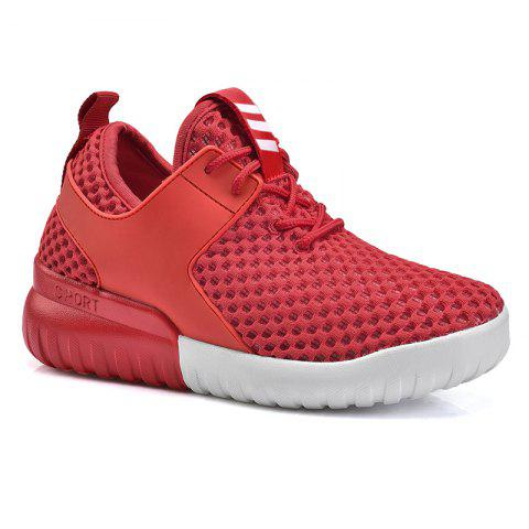 Breathable Mesh Faux Leather Insert Athletic Shoes - Red - 37