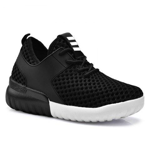 Breathable Mesh Faux Leather Insert Athletic Shoes - Black - 37