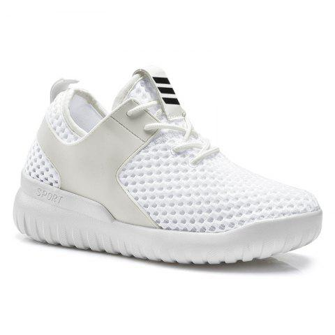 Shop Breathable Mesh Faux Leather Insert Athletic Shoes WHITE 37
