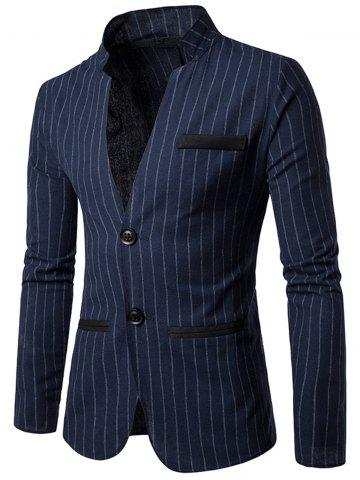 Buy Two Button Vertical Stripe Casual Blazer - M CADETBLUE Mobile