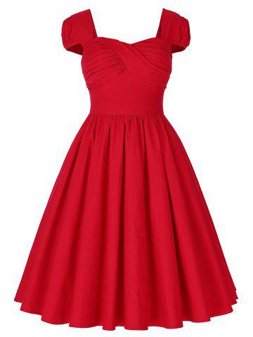 Fashion Vintage Puff Sleeve Ruched Pinup Dress - M RED Mobile