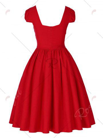 Cheap Vintage Puff Sleeve Ruched Pinup Dress - M RED Mobile