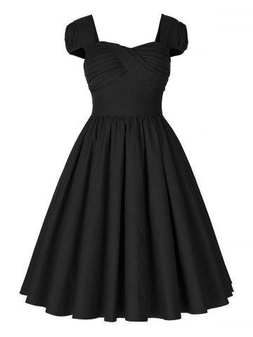 Trendy Vintage Puff Sleeve Ruched Pinup Dress - 2XL BLACK Mobile