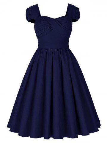 Store Vintage Puff Sleeve Ruched Pinup Dress - 2XL PURPLISH BLUE Mobile