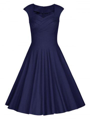 Outfits Sweetheart Neck Vintage Skater Party Dress - S PURPLISH BLUE Mobile