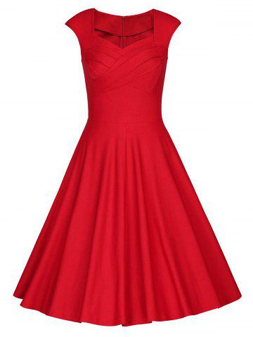 Chic Sweetheart Neck Vintage Skater Party Dress - 2XL RED Mobile