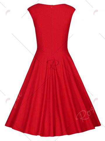 Latest Sweetheart Neck Vintage Skater Party Dress - 2XL RED Mobile