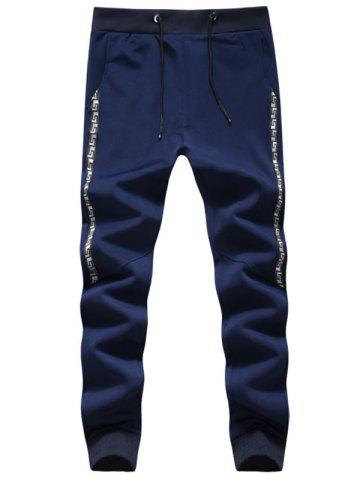 Discount Retro Pattern Drawstring Jogger Pants - 5XL PURPLISH BLUE Mobile