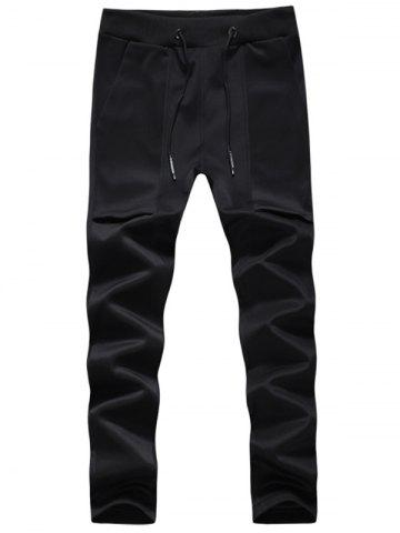 Pockets Drawstring Sport Jogger Pants - Black - 3xl