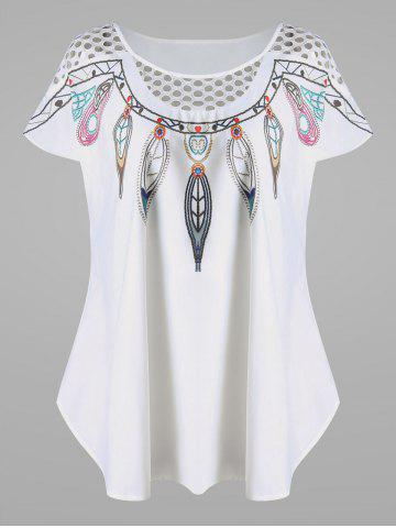 Online Openwork Feather Print Plus Size Top - 4XL WHITE Mobile