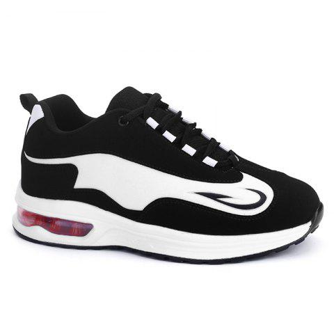 Buy Color Block Air Cushion Athletic Shoes - White Black 37