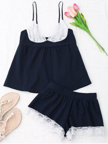 Chic Cami Lace Insert Cotton Pajamas Set - ONE SIZE CERULEAN Mobile
