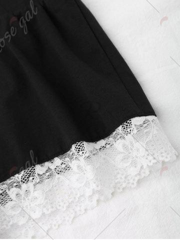 Outfits Cami Lace Insert Cotton Pajamas Set - ONE SIZE BLACK Mobile