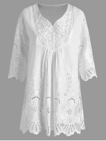 Plus Size V Neck Embroidered Tunic Top - White - 2xl