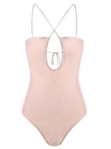 Shops Strappy Cut Out One-piece Swimwear LIGHT APRICOT PINK M