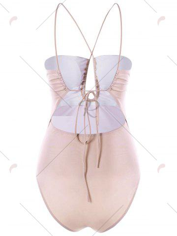 Outfit Strappy Cut Out One-piece Swimwear - M LIGHT APRICOT PINK Mobile