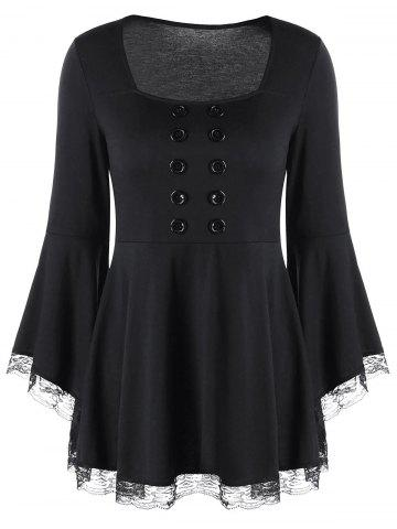 Buy Double Breasted Bell Sleeve Peplum Top - XL BLACK Mobile