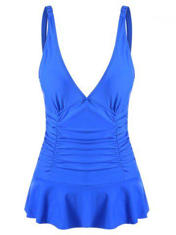 Store Ruched Plunge One-piece Swimwear - S BLUE Mobile