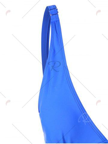 Sale Ruched Plunge One-piece Swimwear - S BLUE Mobile