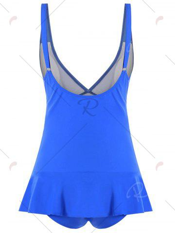 Shops Ruched Plunge One-piece Swimwear - S BLUE Mobile