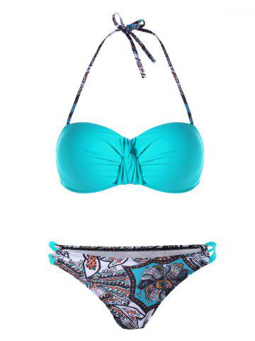 Fashion Twist Front Halter Graphic Bikini Set CASPIAN L