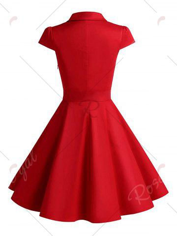 Outfit Vintage Belt Party Swing Pin Up Dress - M RED Mobile