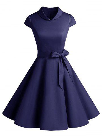 Cheap Vintage Belt Party Swing Pin Up Dress - 2XL PURPLISH BLUE Mobile