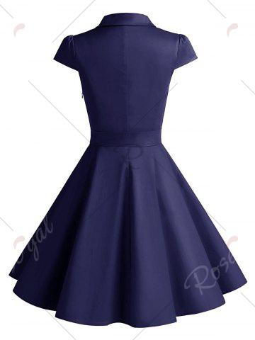 Outfits Vintage Belt Party Swing Pin Up Dress - 2XL PURPLISH BLUE Mobile