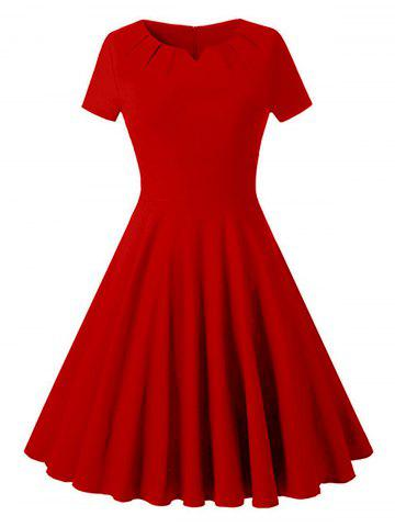 Hot Ruched Vintage Skater Party Dress - S RED Mobile
