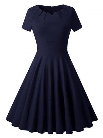 Outfits Ruched Vintage Skater Party Dress - 2XL PURPLISH BLUE Mobile