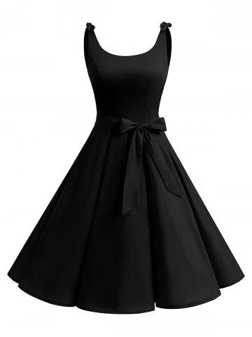 Chic Vintage Bowknot Cut Out Skater Party Dress - 2XL BLACK Mobile