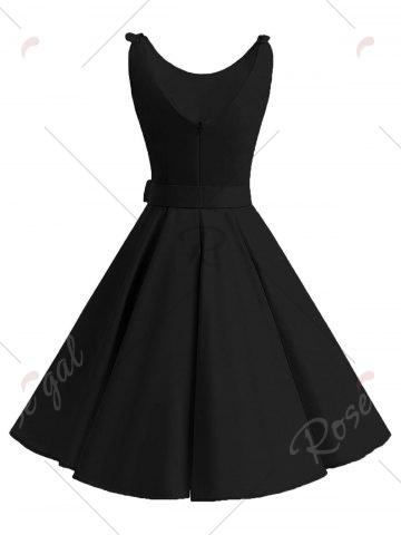 Discount Vintage Bowknot Cut Out Skater Party Dress - 2XL BLACK Mobile