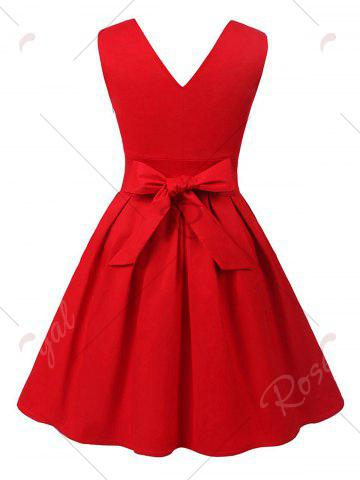Fashion Cut Out V Neck Vintage Pin Up Dress - S RED Mobile