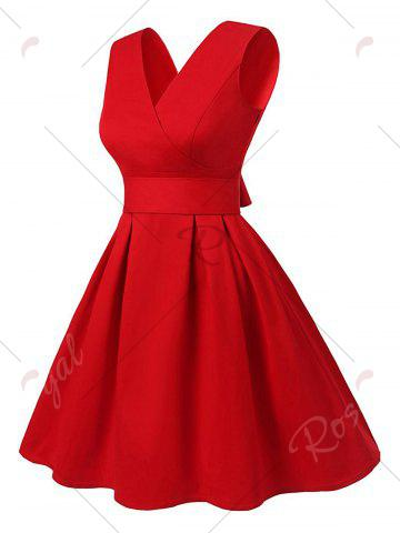Hot Cut Out V Neck Vintage Pin Up Dress - S RED Mobile