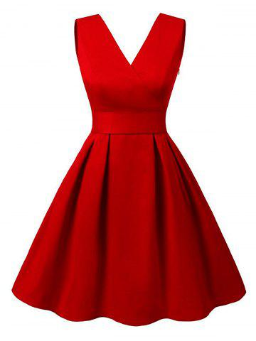 Buy Cut Out V Neck Vintage Pin Up Dress - S RED Mobile