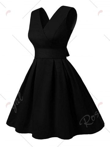 Affordable Cut Out V Neck Vintage Pin Up Dress - 2XL BLACK Mobile