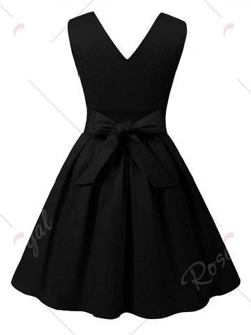 New Cut Out V Neck Vintage Pin Up Dress - 2XL BLACK Mobile