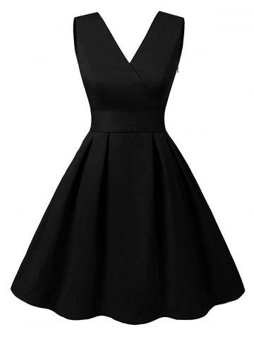 Latest Cut Out V Neck Vintage Pin Up Dress - 2XL BLACK Mobile