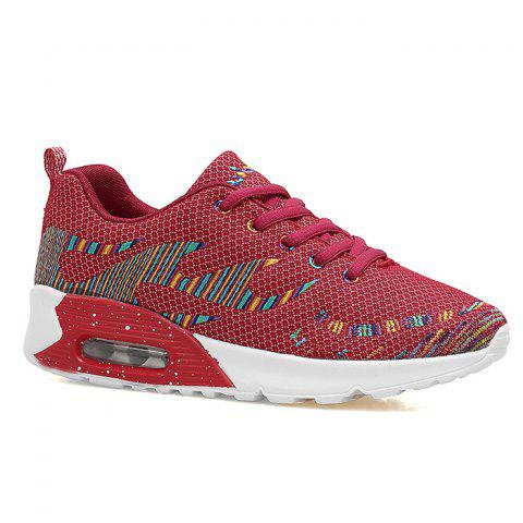Air Cushion Embroidery Line Athletic Shoes - Red - 37