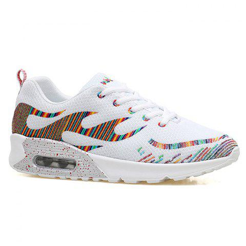 Sale Air Cushion Embroidery Line Athletic Shoes - 37 WHITE Mobile