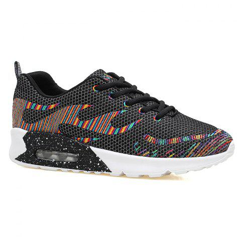 Discount Air Cushion Embroidery Line Athletic Shoes BLACK 39