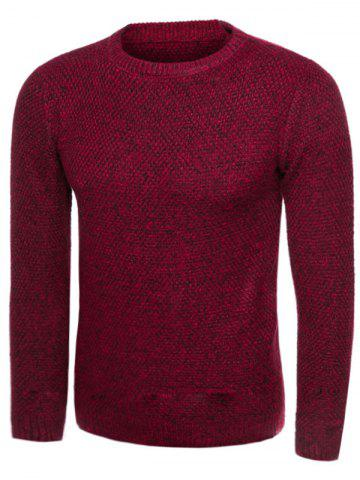 Fancy Knit Blends Crew Neck Long Sleeve Sweater WINE RED 2XL