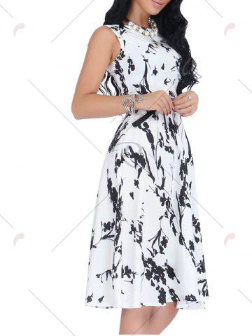 Hot Belted Sleeveless Floral Monochrome Dress - S BLACK WHITE Mobile